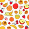Stock Image : Seamless pattern with various fruit