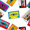 Stock Image : Seamless retro cassettes pattern
