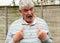 Stock Image : Senior man saying no not me.