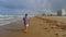 Stock Image : Senior man walking on beach