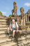 Stock Image : Senior tourist in Angkor Wat complex