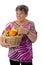 Stock Image : Senior woman presenting fruit