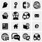 Stock Image : Servers, network vector icons set on gray