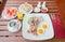 Set of american breakfast on wood table
