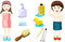 Stock Image : Set of bathing with boy and girl