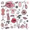 Stock Image : Set of Beauty Items / Spa / Fashion Doodles Red Colors