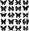 Stock Image : Set of black silhouettes of butterflies. Variety of stylized forms