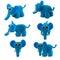 Stock Image : Set of blue elephant made from plasticine