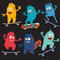 Set of cheerful and colorful cartoon monster who ride skateboards. Vector