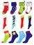 Stock Image : Set of Christmas, Winter and America pattern socks