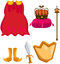 Stock Image : Set of cloak,crown,sword,chield and scepter