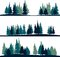 Stock Image : Set of different landscape with fir-trees