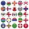 Stock Image : Set of European Round Flag Icons