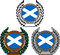 Stock Image : Set of flags of scotland with laurel wreath