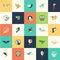 Stock Image : Set of flat design bird icons