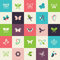 Stock Image : Set of flat design butterfly icons