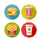 Stock Image : Set of flat icon with hamburger fries soda and coffee in paper cup