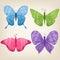 Set of four butterflies