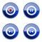 Stock Image : Set icon blue glossy #25.