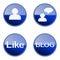 Stock Image : Set icon blue glossy #06.