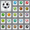 Stock Image : Set Icons the Colored Footballs