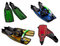 Stock Image : Set of multicolored flippers, masks, snorkel