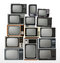 Stock Image : Set of old retro televisions