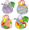 Stock Image : Set of plastic transparent shopping bags filled with food