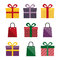 Stock Image : Set of presents and gift bags