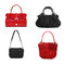 Stock Image : Set of red and black women bags