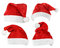 Stock Image : Set of Santa Claus red hats