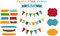 Stock Image : Set of scrap-booking bright stickies,flags and fra