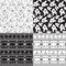 Stock Image : Set of seamless patterns of black and white colors