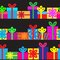Stock Image : Set of seamless series of gift boxes.