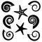 Stock Image : Shells and starfish silhouettes set