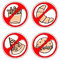 Stock Image : Set of signs prohibiting fast food