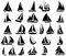 Stock Image : A set of  silhouettes of yachts
