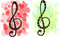 Stock Image : Set of two stylized treble clef backgrounds