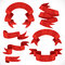 Stock Image : Set of vector festive red ribbons various forms for decoration 1