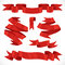 Stock Image : Set of vector festive red ribbons various forms for decoration 2