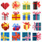 Stock Image : Set of vector simple pixel presents box.