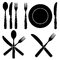 Stock Image : Vintage Cutlery Silhouettes designs