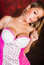 Stock Image : Sexy blonde girl in pink lingerie boudoir model
