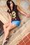 Stock Image : Sexy Brunette Girl in Short Mini Skirt