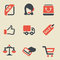 Stock Image : Shopping black and red icon set