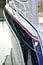 Stock Image : Side of yacht in quiet harbor