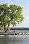 Stock Image : Silence lake Bench and tree