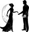 Stock Image : Silhouette of groom and bride