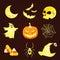 Stock Image : Silhouette Halloween icons