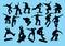 Stock Image : Silhouette of skateboarder